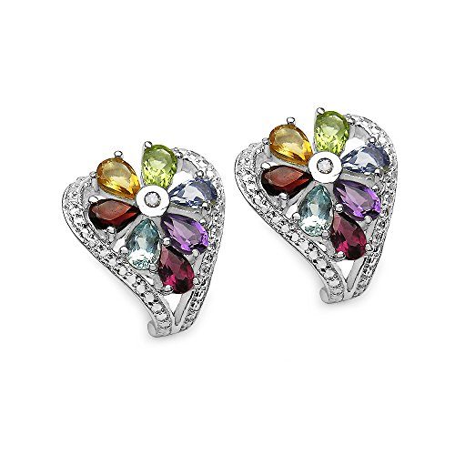 3.20 Carat Genuine Multi Stone .925 Sterling Silver Earrings