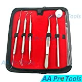AA PRO DENTAL HYGIENE KIT, DENTIST TOOL KIT, STAINLESS STEEL TARTER REMOVER, ANTI-FOG MIRROR, TWEEZERS, DENTAL PICK/SCALER WITH FREE LEATHER CARRY CASE A+ QUALITY