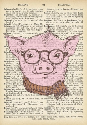 Hipster Pig Vintage Dictionary Art Notebook: 7 x 10 inch Ruled Notebook/Journal