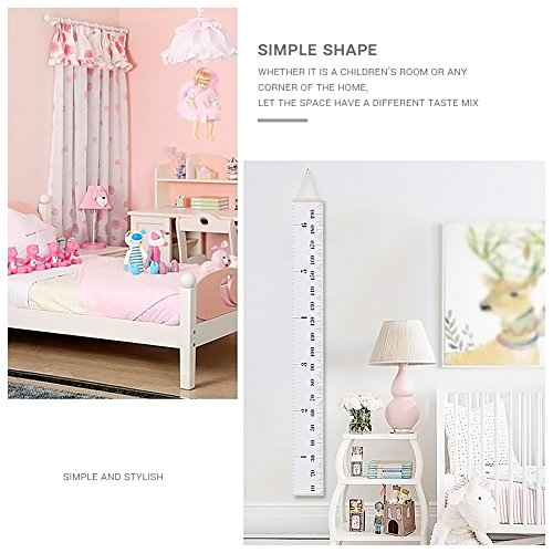 AUKUK Baby Height Growth Chart Ruler Kids Roll-up Canvas Height Chart Removable Wall Hanging Measurement Chart Wall Decor with Wood Frame for Kids Nursery Room,Easy to use for long-term (79'' X 7.9'') by AUKUK (Image #1)