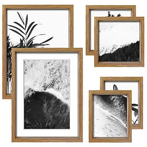 "ArtbyHannah 6 Pack Gallery Wall Kit Decorative Art Prints Picture Frame Collage Wall Art Decor & Hanging Template Photo Frame Set for Home Decoration, Multi Size 12"" x 16"",8"" x 8"",7"" x 9"""