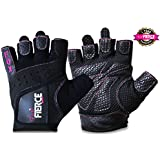 Womens Weightlifting Gloves in Black or Pink plus *FREE* Padded Figure 8 Lifting Straps for Powerlifting and Heavier Weight plus *FREE* Fox Fierce Fitness Workout for Women Ebook