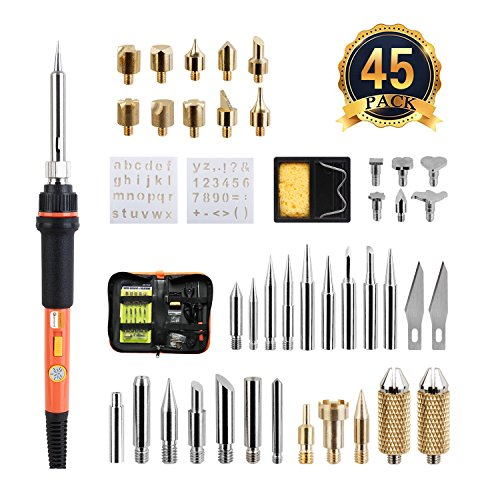Wood Burning Kit, Genround 45pcs Wood Burning Tool Set 60 Watt Soldering Iron Kit | Incl Temperature Control Soldering Gun, Woodburning Tips, Soldering Tips, Stencil, Converter, Stand And Storage Bag
