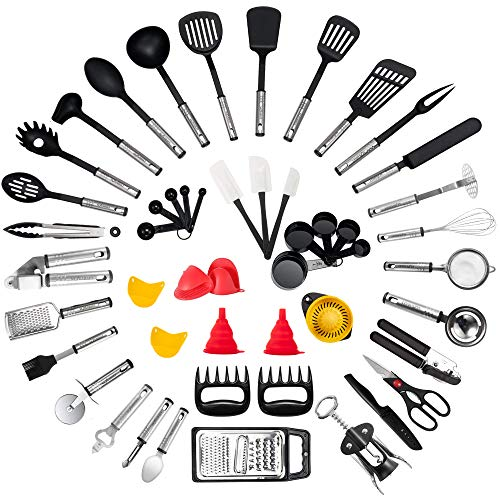 Kitchen Utensil Set - 50-Piece Cooking Utensils - Nylon and Stainless Steel Utensil set - Nonstick Kitchen Utensils Spatula Set - Complete Cooking Tool set - Best Kitchen Gadgets for Gift