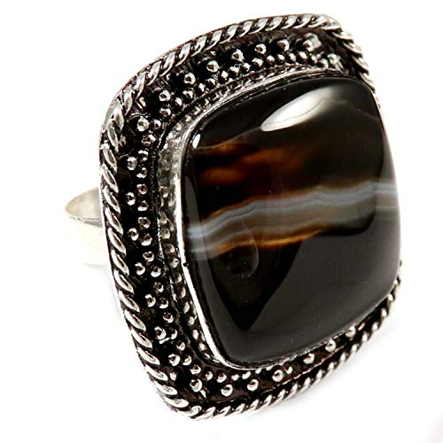 GoyalCrafts Natural Banded Agate Ring US8.75 Silver Plated Handmade Jewelry GRN08