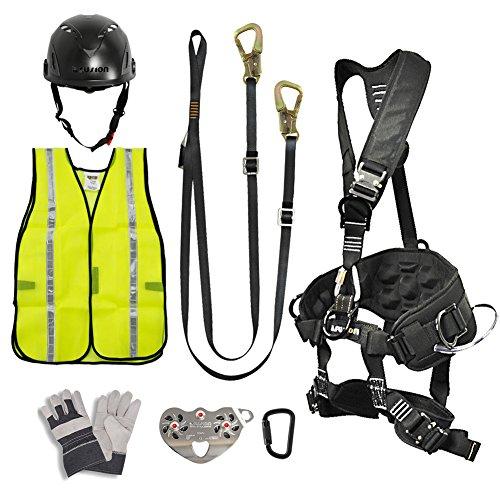 Fusion Climb Pro Backyard Zip Line Kit Harness Lanyard Trolley Carabiner Helmet Vest Glove Bundle FK-A-HLTCHVG-26