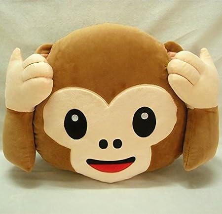 Amazon.com: 33cm Emoji Smiley Monkey Emoticon Cushion Pillow Stuffed Plush Soft Pillow Toy (Do not Look Monkey): Home & Kitchen