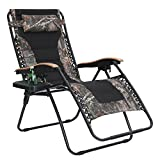 PHI VILLA Oversize XL Padded Zero Gravity Lounge Chair Wide Armrest Adjustable Recliner with Cup Holder, Support 350 LBS (Camouflage)