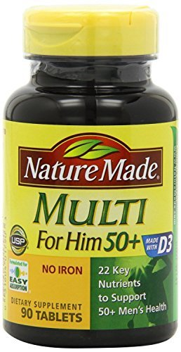 Nature Made Multi for Him 50+ Multiple Vitamin and Mineral Supplement Tablets, 90-Count (Pack of 2)