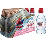 evian Natural Spring Water Spider-Man Edition 330ml 11.2 oz. 12 Count, Water Bottles with Sports Cap, Naturally Filtered Spring Water in Individually-Sized Spider-Man Bottles
