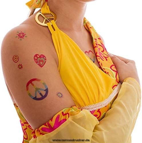 1 x Hippie Tattoo Karte 1 Fasching Party 29 Bunte Flower Power Peace Haut Tattoos