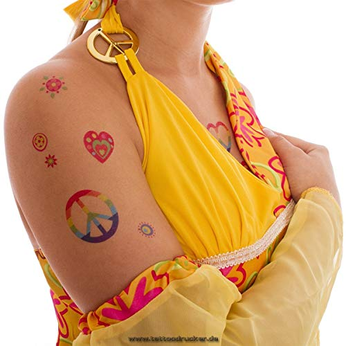 2 x Hippie Tattoo Card - 58 Colorful Flower Power Peace Skin Tattoos - Carnival Party (2)