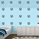 Pack of 25 Soccer Balls - Vinyl Wall Art Decals - 1.5'' x 1.5'' each one - Kids Bedroom Sports Vinyl Wall Decal Stickers - Childrens Room Wall Decor for Boys and Girls