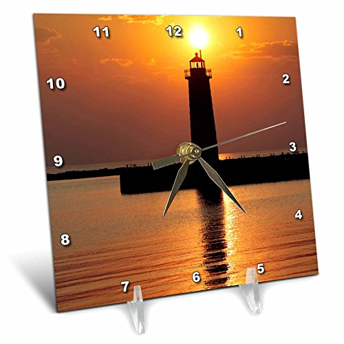 Michigan State Clock Desk - 3dRose dc_91212_1 MI, Muskegon Lighthouse on Lake Michigan US23 RER0002 Ric Ergenbright Desk Clock, 6 by 6-Inch