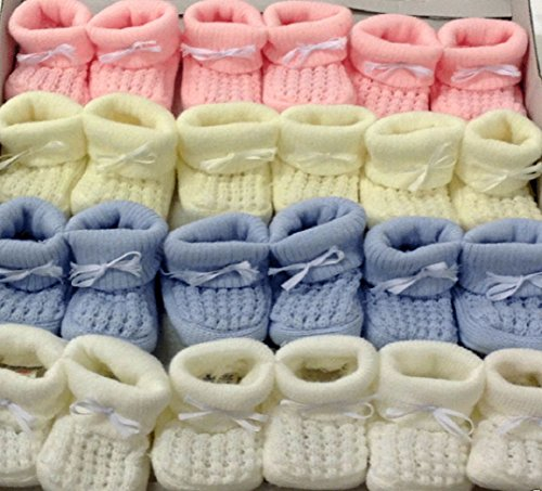 Patucos para bebé (talla 0–3meses) crema rosa