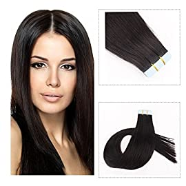 Mario Hair Tape In Human Hair Extensions Silky Straight Skin Weft Human Remy Hair (16 inches, 1)