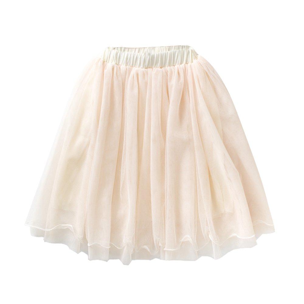 VIYOO Girls Casual 4-Layer Tulle Tutu Puff Mid-Calf Long Skirt Age 2-8, Beige Gray