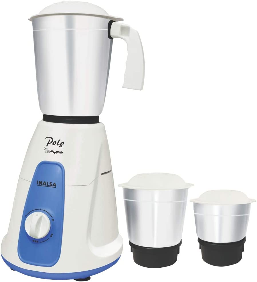 Inalsa Polo 550-Watt Mixer Grinder with 3 Jars, (White/Blue)