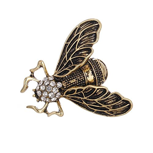Brooch Dangling Crystal (SIKIWIND Insect Crystal Rhinestones Brooch Hat Sweater Pins Party Jewelry Cute Brooch for Woman Kids Girls(Retro))
