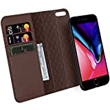 Zover iPhone 7 8 Wallet Case Detachable Genuine Leather Luxury Series Support Wireless Charging Magnetic Car Mount Holder Kickstand Feature Card Slots Magnetic Closure Gift Box Dark Brown