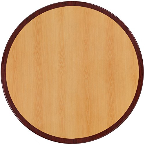 (Flash Furniture 36'' Round 2-Tone High-Gloss Cherry / Mahogany Resin Table Top with 2'' Thick Drop-Lip)