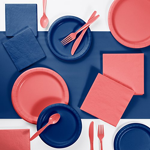(Coral and Navy Party Supplies Kit, Serves 24)