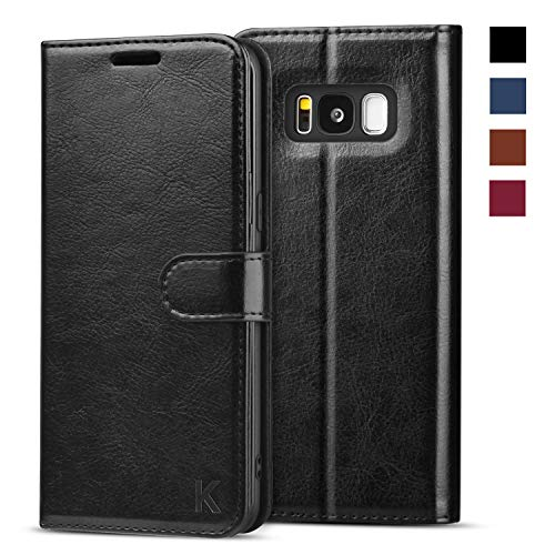 KILINO Galaxy S8 Wallet Case [Shock-Absorbent Bumper] [Card Slots] [Kickstand] [RFID Blocking] Leather Flip Case Compatible with Samsung Galaxy S8 - Black