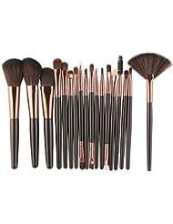 New 18 pcs Makeup Brush Set - Fheaven Wool Make Up Brush Set -Foundation Powder ,Lip ,Mascara ,Eyeshadow ,Two Side ,Eyebrow Mascara ,Sponge ,Smudge ,Nose Shadow ,Eyeliner Brush (Black)