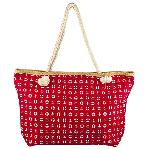 - Lux Accessories Lux Accessories Womens Zip Up Beach Bag Red Anchor