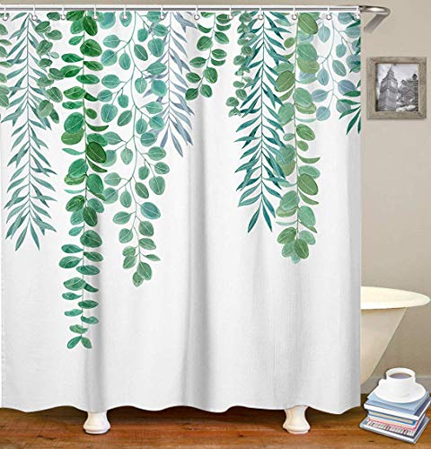 Palm Shower Curtain (LIVILAN Green Leaf Shower Curtain Set with 12 Hooks Decorative Bath Curtain Waterproof Fabric Bathroom Curtain 70.8
