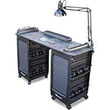 351-V Manicure Nail Table Vented Lockable Cabinets Black Marble Lam.Top by Dina Meri