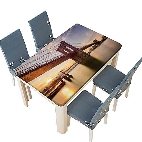 (PINAFORE Indoor/Outdoor Polyester Tablecloth Depositphotos 117584950 Stock Photo Brooklyn Bridge at Dawn Wedding Restaurant Party Decoration W57 x L96.5 INCH (Elastic)
