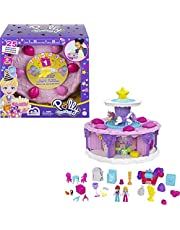 Polly Pocket Birthday Cake Countdown for Birthday Week, Birthday Cake Shape & Package, 7 Play Areas, 25 Surprises, Makes a Great Birthday Gift for Ages 4 Years Old & Up