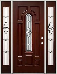 Centro madera de caoba fibra de vidrio puerta de entrada con sidelites 18 patina mano - Puertas de fibra de vidrio ...