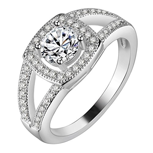 Zales Promise Rings - FENDINA Womens Silver Plated Classic CZ Crystal Solitaire Promise Engagement Wedding Bands Eternity Anniversary Rings for Her Valentin's Day Gift