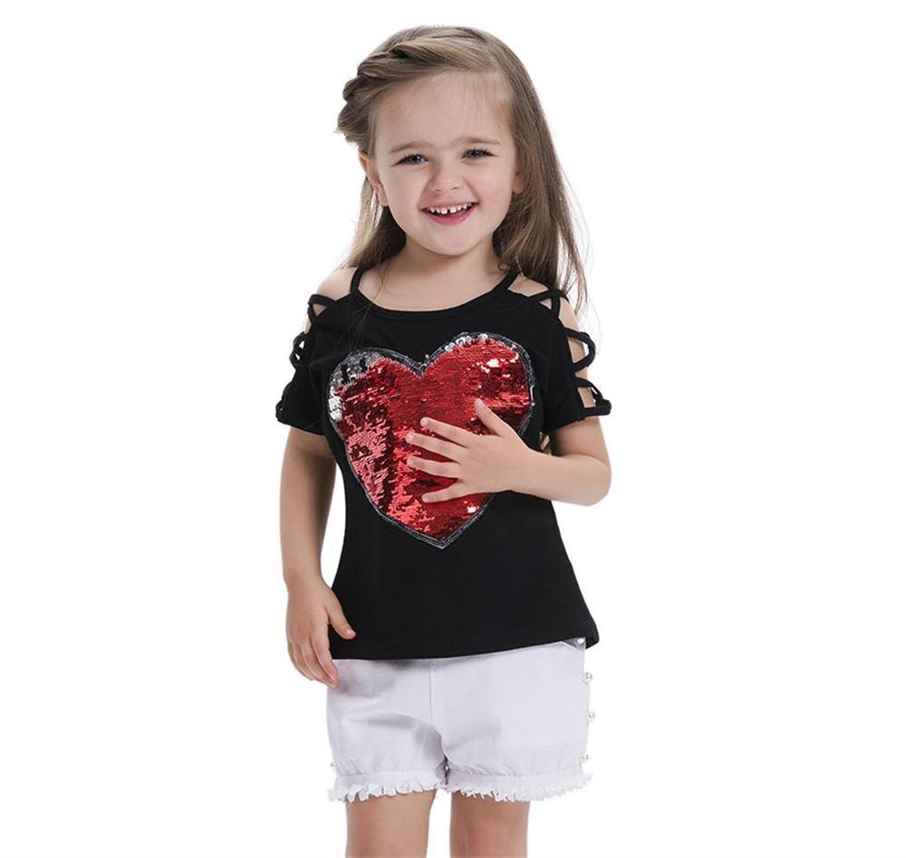 Miiyana Girls Summer Short Sleeve Cotton T Shirts Heart Sequin Tee Top with Letter Print,Black,110CM(4Years)
