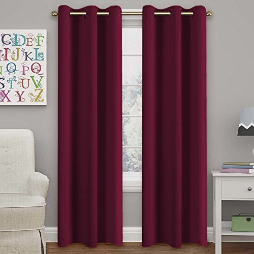 Turquoize Solid Blackout drapes, Room Darkening, Roby Wine, Themal Insulated, Grommet/Eyelet Top, Nursery/Living Room Curtains Each Panel 42