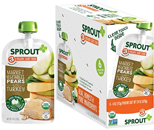 Sprout Organic Baby Food Pouches Stage 3 Sprout Baby Food, Market Vegetables Pears with Turkey, 4 Ounce (Pack of 6); USDA Organic, Non-GMO, 3 Grams of Protein, Free Range Turkey (Puree Pear)
