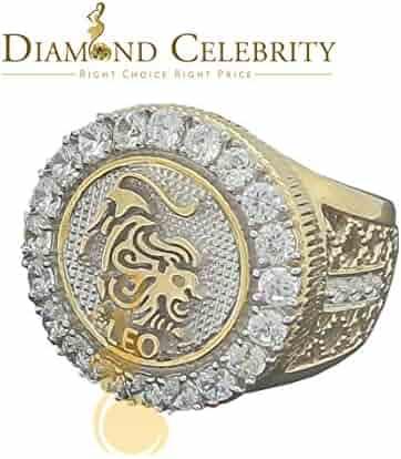 Mens 10K White Gold Finish in Silver CZ Leo Zodiac Designer Adjustable Size 10 to 13 Ring