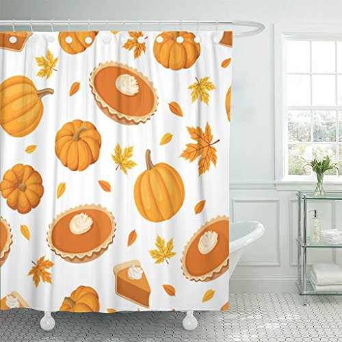 Emvency Shower Curtain Beige Thanksgiving Pumpkin Pies and Brown Dessert Pattern Leaf Waterproof Polyester Fabric 60 x 72 inches Set with Hooks -