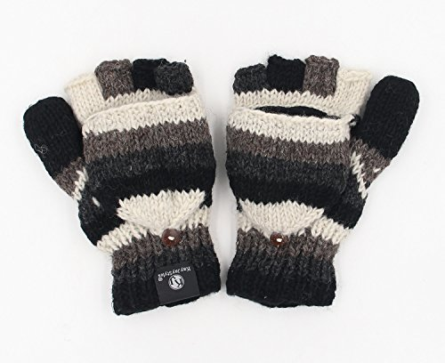 KayJayStyles Natural Nepal Hand Knit Ear flaps Beanie Ski Wool Hat & Glove Mitten Set (Natural 4)
