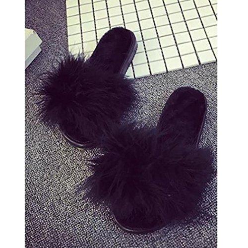 WINWINTOM Nuevo Moda Damas Para Mujer Zapatillas Slip On Flock Sliders Zapatillas Sandalias Flops de Flax Flops Negro