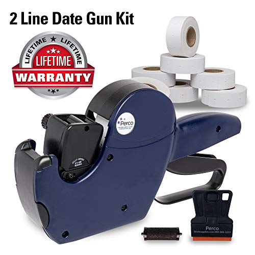 Perco 2 Line Date Gun Labeler Kit: Includes 16 Digits Label Gun, 10,500 White Labels, Inker Remover Tool, and Pre-Loaded Ink Roll (Best Before Date Sticker Gun)
