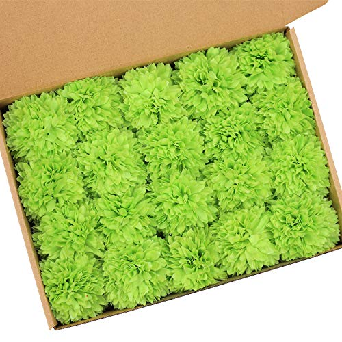 MACTING Artificial Hydrangea Flowers, 20 Pcs Detachable Flower Heads and Stems, Fake Hydrangea Flower Arrangements Pack in Box for Wedding DIY Boutonniere Flower Wall Home Décor (Green)