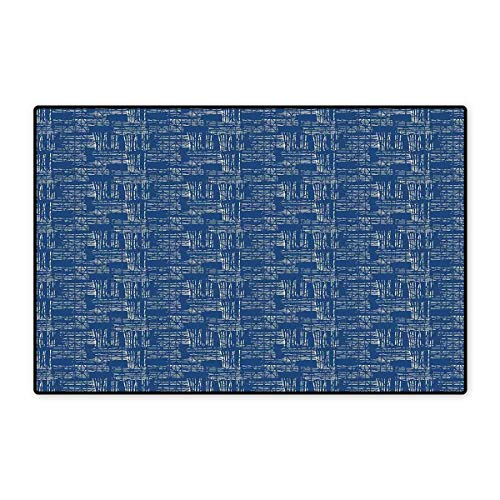 Blue and White Floor Mat for Kids Watercolor Style Tie Dye Grid Indonesian Grunge Stripy Composition Floor Mat Pattern 32