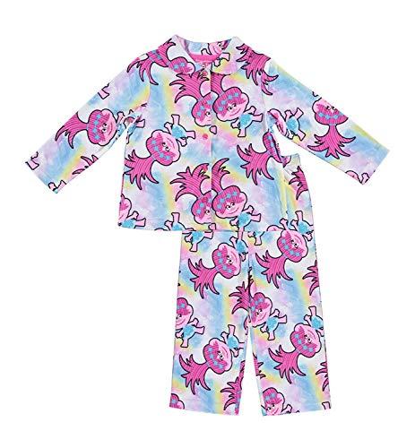 (Trolls Movie DreamWorks Girls Pajamas - 2-Piece Long Sleeve Pajama Set (Pink/White,)