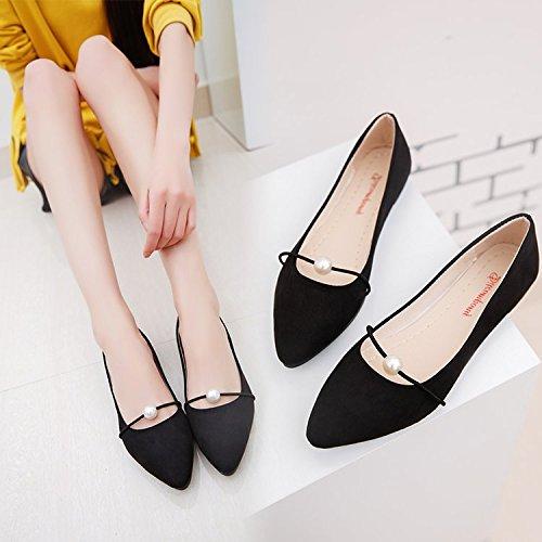 Schuhe Unterseite Anzahl Tipp Xue Flache ist Satin kleine für Schüler Einzelne mit Sojabohnen Elegante Schuhe Frauen Sportliche eine Singles Schuhe Schwarz Schuhe Perlen Frauen Qiqi zu ETTnxq84