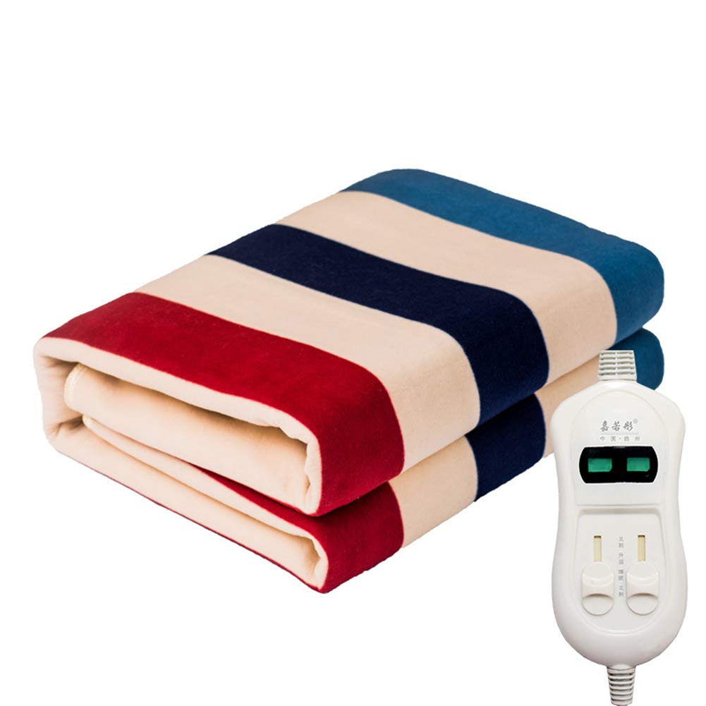 150Cm Electric Blanket Striped Thickened Electric Blanket Comfortable and Safe Waterproof Home Radiation Protection Plumbing Blanket,Singlecontrol,70 LIBINA