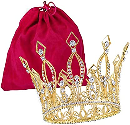 """Santfe 4"""" Height Luxury Full Crown Clear Rhinestone Crystal Silver/Gold Plated Tiara Pageant Bridal Prom Wedding Crown (Gold)"""