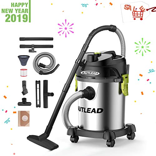 AUTLEAD Wet Dry Vacuum Stainless Bucket 5.5 HP 5.5 Gallon 1200W Pure Copper Motor Wet/Dry/Blow 3 in 1 Shop Vac with Pulley System, HEPA Disposable Bag, 3 Brush Included WDS03A -